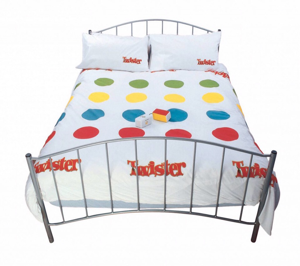 9. Twister Duvet Set (€100, Ebay). Having originally started out as a Mexican ad for Viagra, the Twister duvet set has turned into one of the most sought after bedroom accessories since, well, Viagra. It may take a little hunting (Ebay is your best bet) but a few rounds of naked Twister is probably