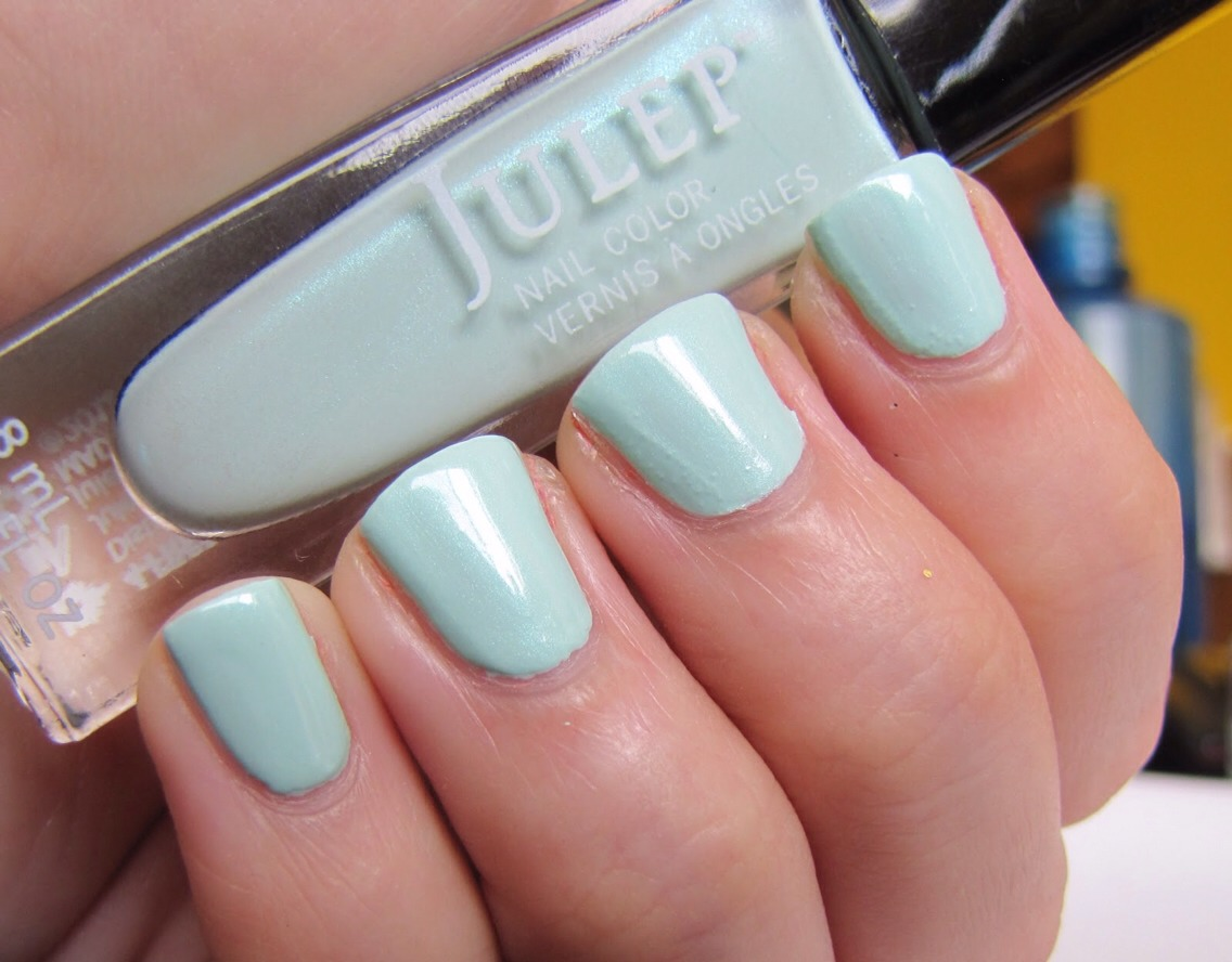 Paint nails fully with a mint color shade of green. I love the brand Julep, so I used their mint color called 'Shanae' though any mint color will work fine.
