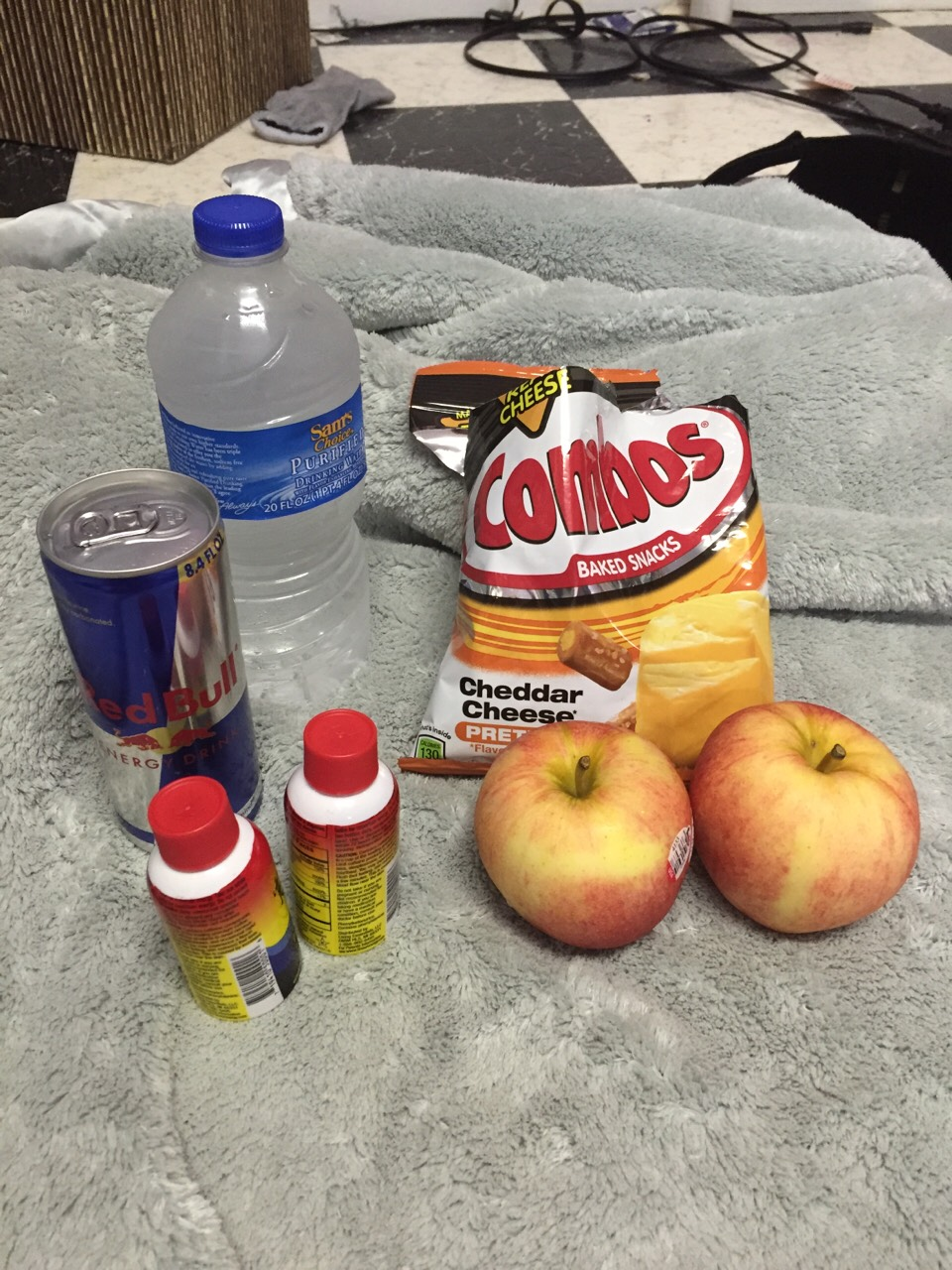 To help you stay up, you're going to need some snacks, caffeine, or whatever. I have two 5+ energy drinks, one red bull, water, two apples, a combos snack, and coffee to save for later in case you get tired...
