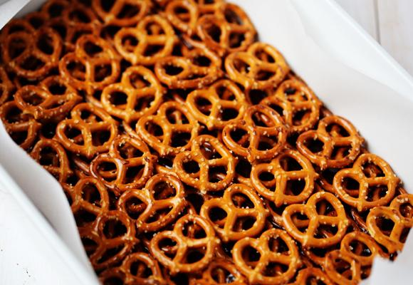 Then comes the fun pretzel part!  Lay the pretzels down in an even layer on top of the brownie batter, then add a second even layer.