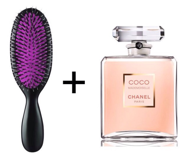 Spray perfume onto your hairbrush and then brush your hair with it. This will make your hair smell like your perfume and have the scent stay longer.