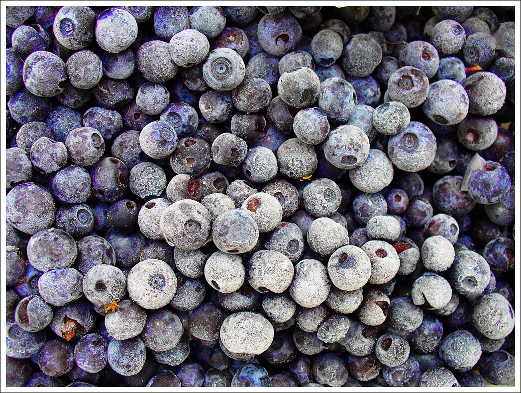 Pour one cup of frozen blueberries in blender