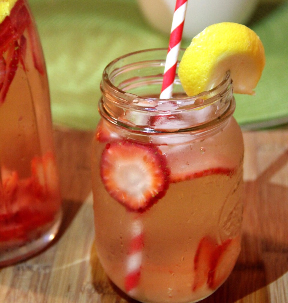 Strawberry-Lemon with Basil  1/2 a cup of sliced strawberries  1/2 a lemon (sliced) 1/4 a cup of basil leaves