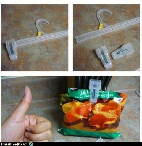 use the clips off of store hangers as bag clips