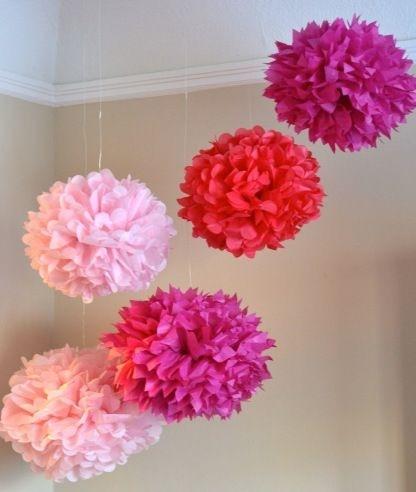 Tissue paper hanging pompoms