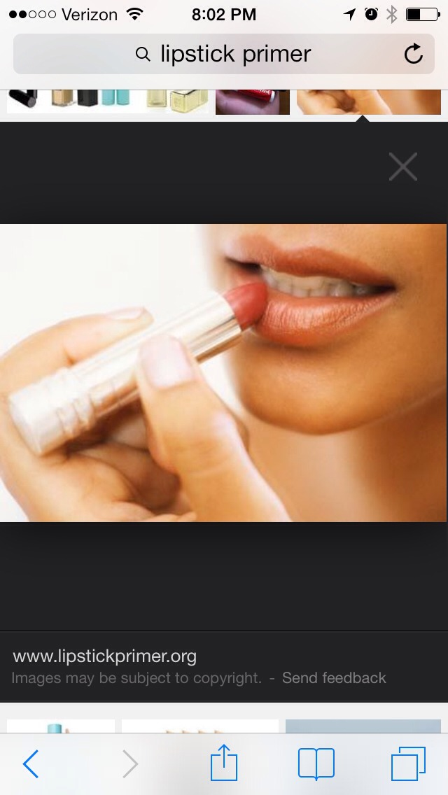 Simply apply a light layer of your preferred foundation (liquid or powder, I prefer Bare minerals matte fairly light powder) if it's liquid, let dry. Then apply your favorite lip gloss or lipstick for a long lasting wear! I feel like it makes the color pop and certainly lasts hours longer!