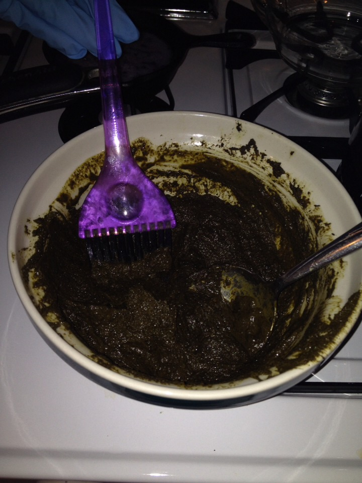 It should be the consistency of brownie batter. You can always add more coffee if needed.