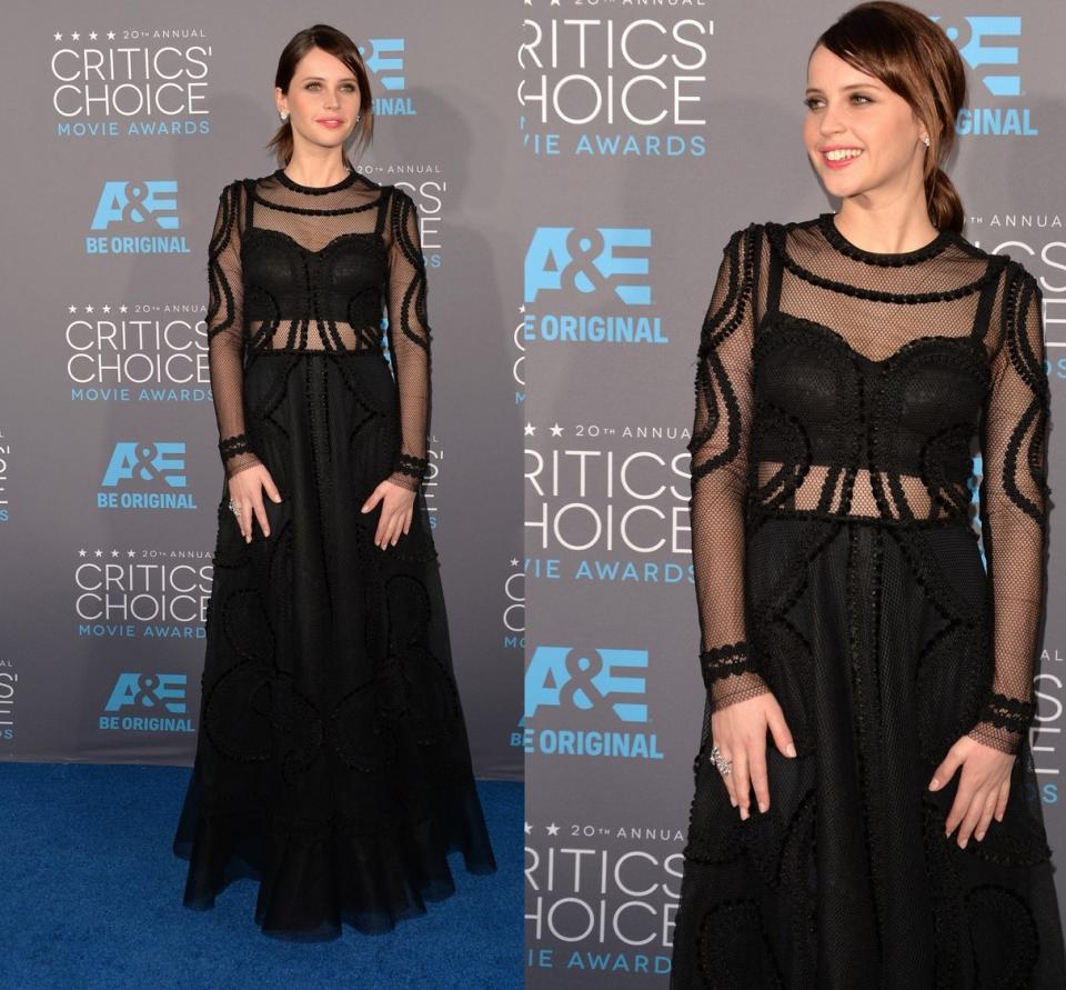 Felicity Jones 2015 Critics' Choice Movie Awards.....http://www.fashiontrendspk.com/felicity-jones-is-chic-in-a-sheer-dress.html