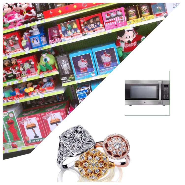December- microwave ovens jewelry and Christmas merchandise.