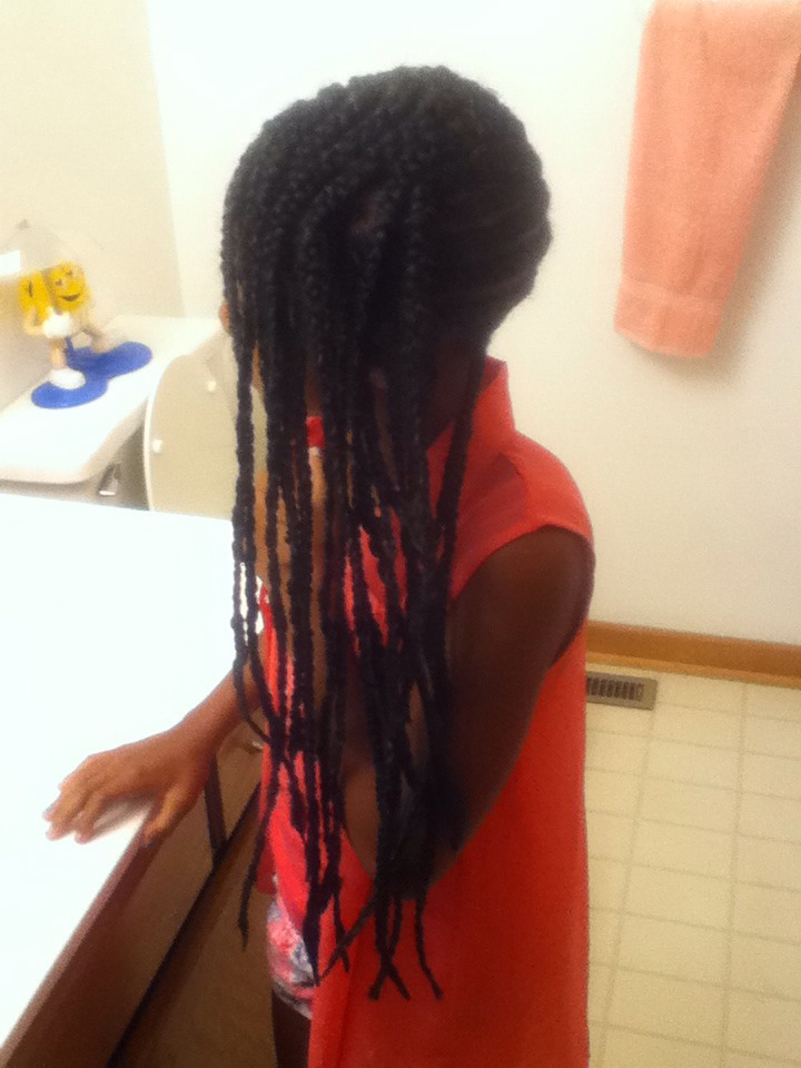 Add box braid underneath so it is more full looking and not jus flat to the scalp