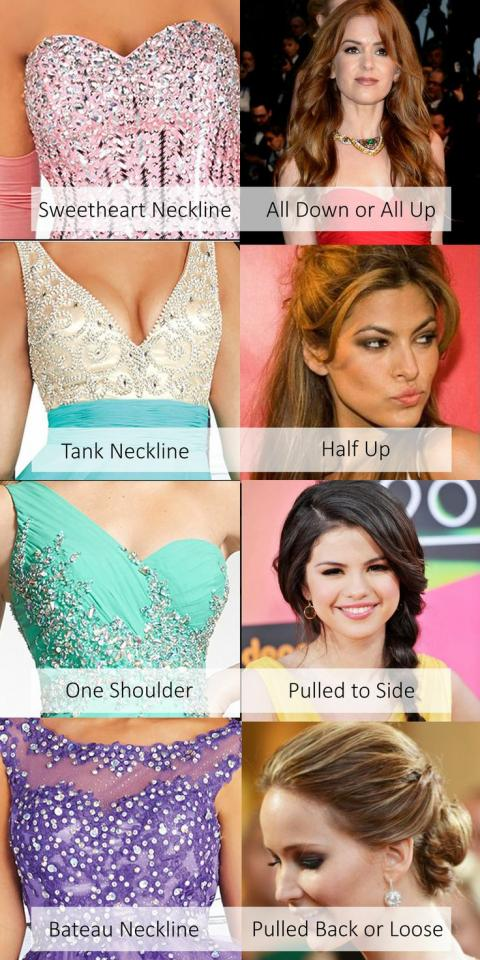 some of neckline styles and suggestions on how to wear your hair
