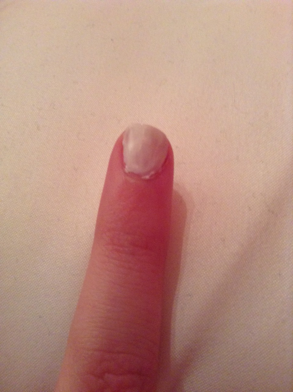 Go over full nail with white nail poilish