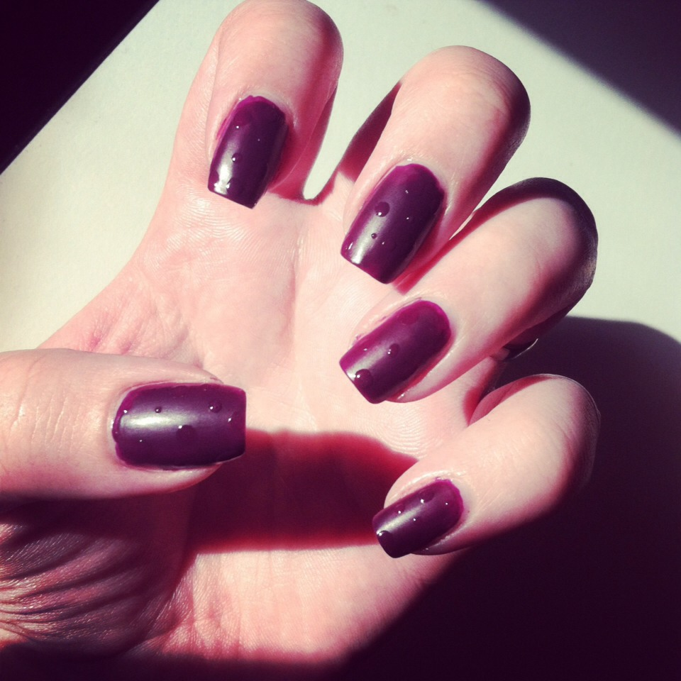 This is Intuition with a matte topcoat over it, wear it shiny or matte, either way you'll get loads of compliments! It's the perfect deep purple!