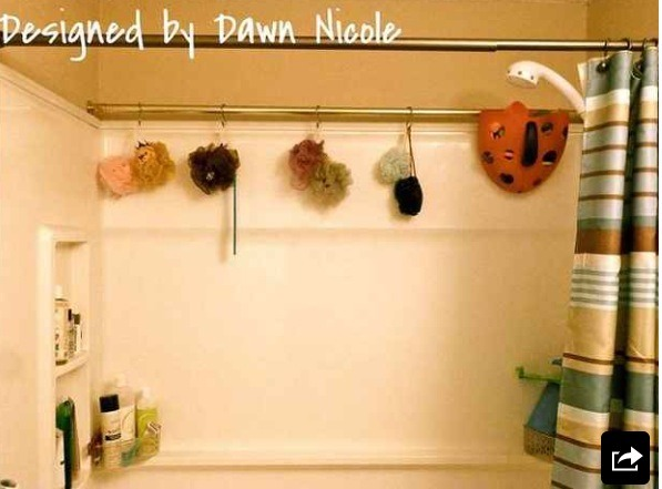 An extra shower rack makes great extra storage.