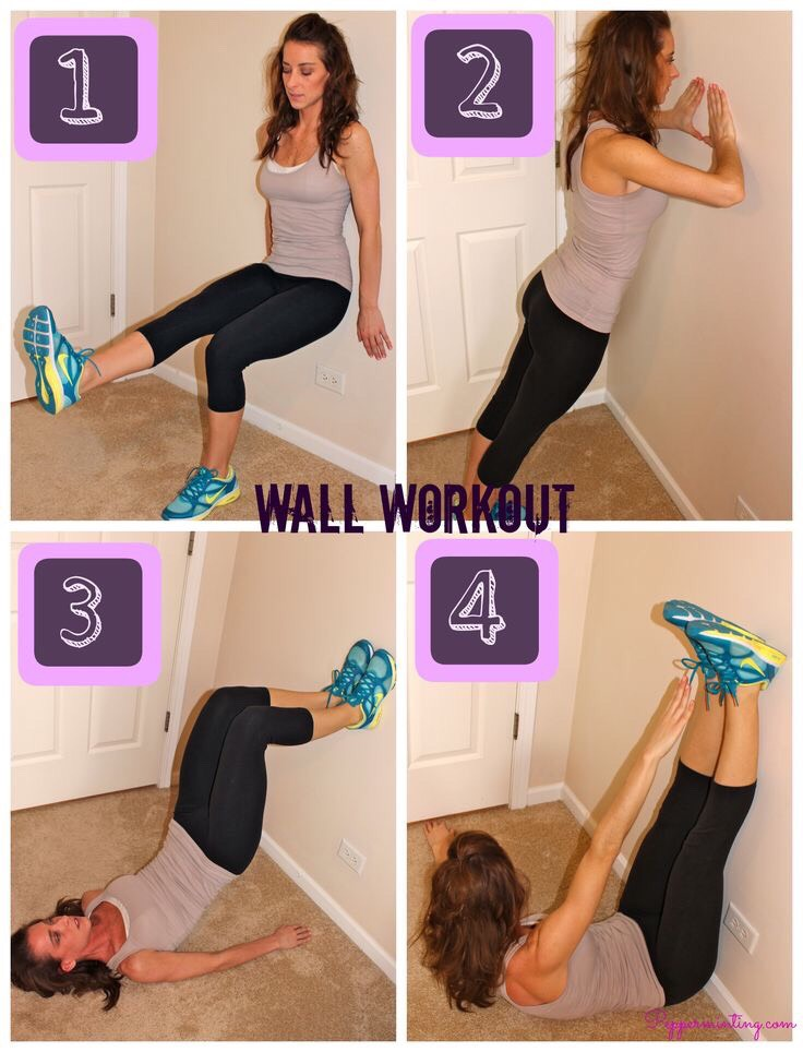 Wall workout! Easy exercises with no equipment. 1) one-legged wall sits(quads) 2) triceps wall press ( triceps/chest) 3) marching bridges (glutes & hamstrings) 4) toe reaches (Abs/core)