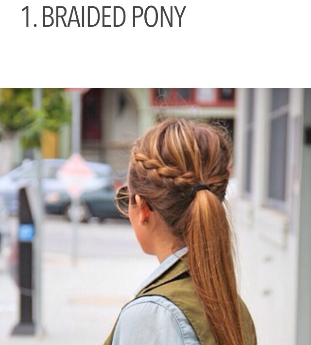 If you can't decide whether you want to wear braids or a simple ponytail, then mix them together. Start out by braiding one section of your hair, and then stop, allowing the rest of your hair to take the shape of a normal ponytail. Just make sure you put your elastic band beneath the braided section