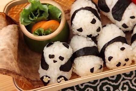 I can eat white rice on its own, but just look at this adorable panda sushi made of rice balls! They are way too cute to eat.