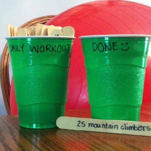 Write many exercises you can do on commercial breaks and draw them out of a cup!