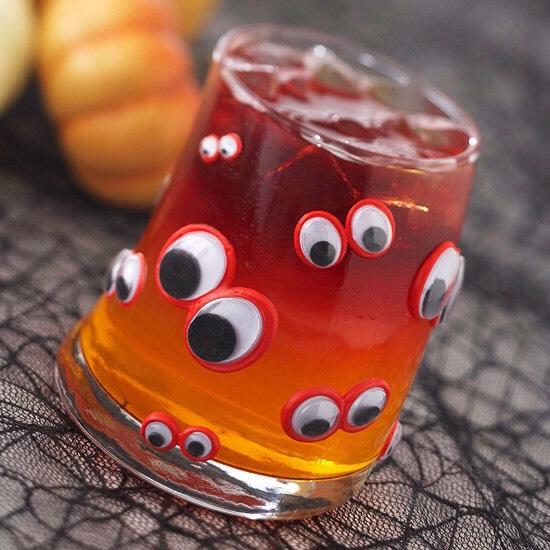 Orange-and-Red Potion For a magical Halloween drink that will amaze your guests, fill a highball glass about halfway with orange soda and then carefully add a spoonful of chilled cherry gelatin. The gelatin should float on top of the beverage. If desired, stir together just before drinking.