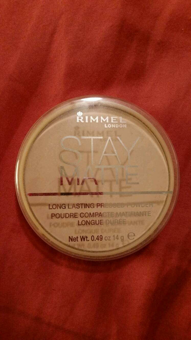Rimmel stay matte long lasting pressed powder. This is my finishing powder I use after I'm done applying my foundation. I love it and it works so well.