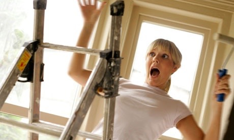 Follow ladder safety. If you're storing a ladder, store it horizontally at floor level.