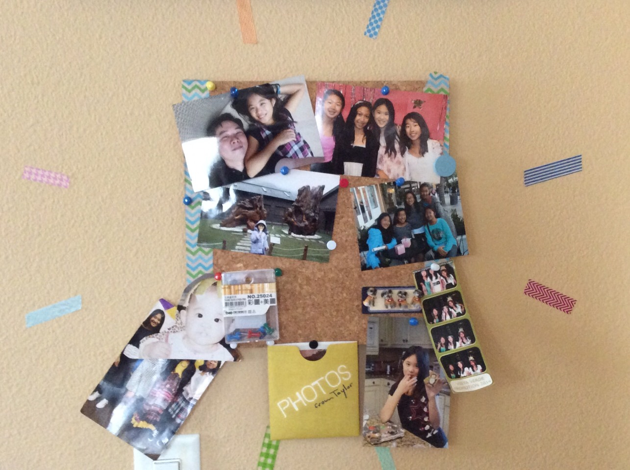 Corkboard with pics of me through the years, and my taylor swift 1989 pics