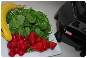 use 30% - 50% vegtables, to add nuitrience with getting rid of taste. Bannanas will cancel out the taste of spinach.