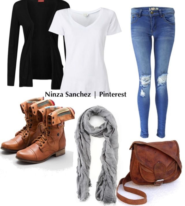 Regular Jeans a white shirt a scarf some boots a purse
