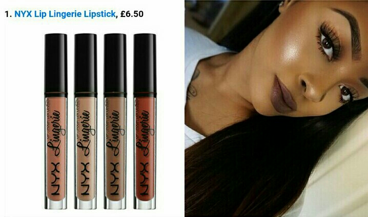 NYX Lingerie, 12 shades from dark brown to pale beige .   Example by sydneylillan ( follow in Instagram) with the shade Honeymoon .
