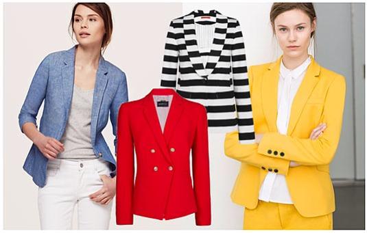 From left to right: Chambray Blazer, LOFT, $98; Red Blazer, MANGO, $83; Black-and-White Striped Blazer, ALICE + OLIVIA, $198; Yellow Blazer, ZARA, $119