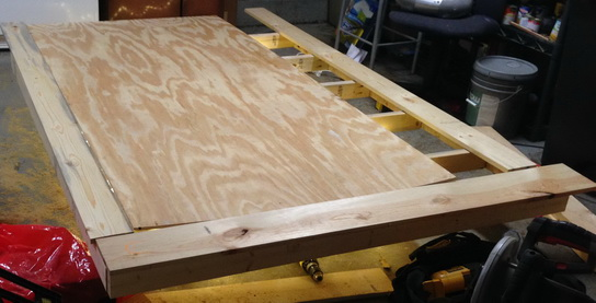 The plywood and 1×6 wood were then attached on the top bed frame for the mattress to sit on.