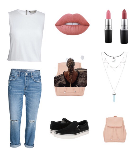 •shirt: Pacsun •pants: Levis or Hollister •Shoes: Vans outlet •lipstick: Mac Velvet Teddy Matte •backpack: Target •necklace: Forever 21 (These items are not directly at the store but have very similar items from these in the picture😊)