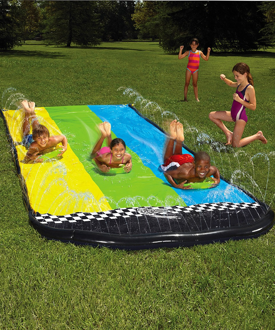 Add dawn to a slip 'n slide for extra fast sliding! It makes slipping more fun!
