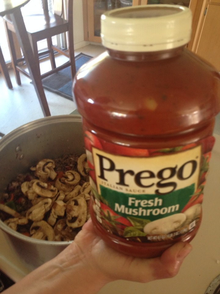 You can use any sauce but this is my moms fave so it was used this night! Normally I try to find reduced sodium sauces or just make my own.