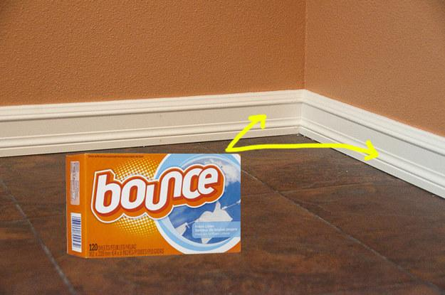 19. Keep your baseboards clean with dryer sheets.