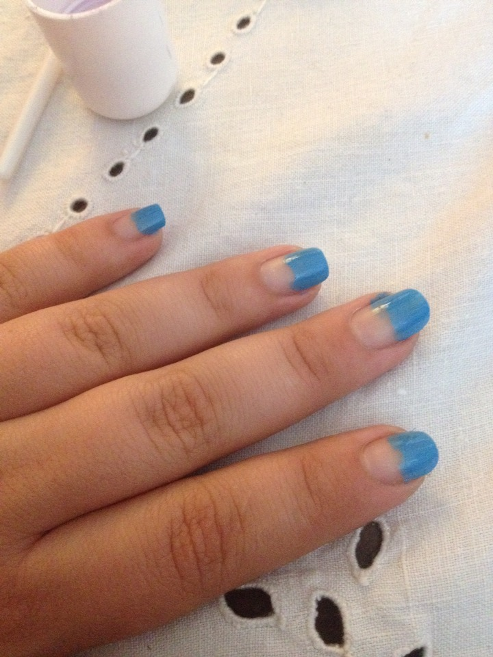 Paint the tips of ur nail. Don't worry it doesn't need to be neat!