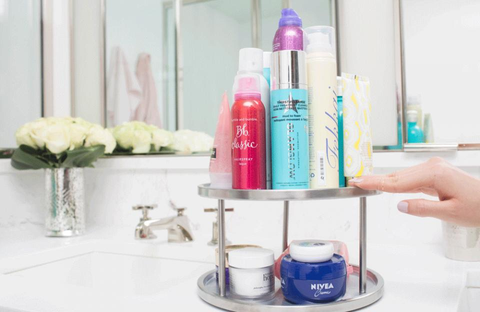 9. If you have a lot of beauty products, stack them on a lazy Susan to save space. Just spin the shelf around to find exactly which item you need.