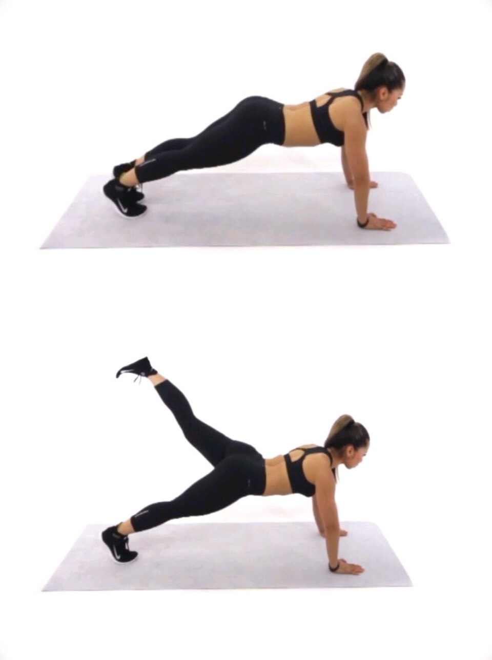 """Leg Pull Back"" - get in a push-up position - holding yourself up, lift one leg up in the air as high and straight as you can - do each leg 30 times or more if you'd like."