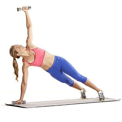 Abs & back: Plank with side snatch