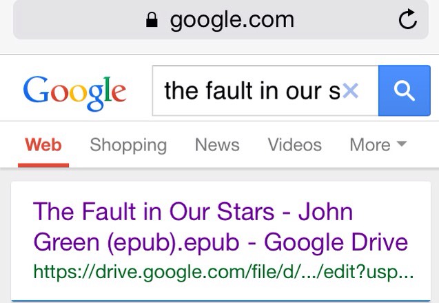 On Google search 'the fault in our stars epud.'
