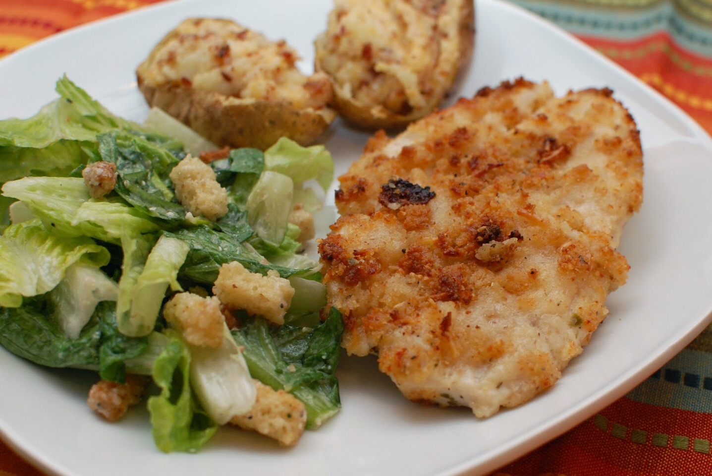 These breaded chicken breasts are crispy and brown on the outside and tender and juicy on the inside The seasoned crumbs add the extra flavor.