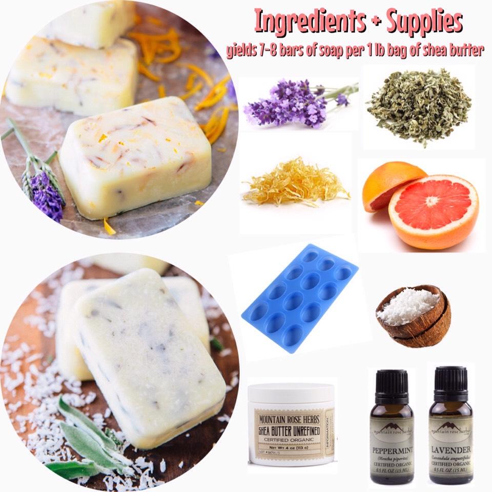 INGREDIENTS + SUPPLIES |  +zest of 1 grapefruit +1-2 tbsp fresh lavender +3 tbsp coconut flakes +8-10 chopped, fresh sage leaves +15-20 drops peppermint essential oil +15-20 drops lavender essential oil +1 lb. bag shea butter +soap mold (Amazon has a lot!)