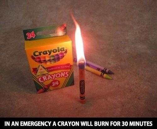 Crayons can quickly become candles in emergencies.  It's actually scary to think about how flammable crayons are. In an emergency situation though, just light them as you would any other candle. Please practice hyper-vigilant fire safety.