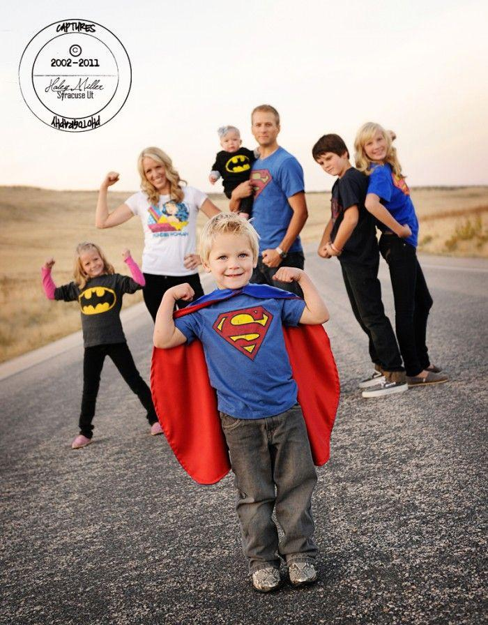 fun superhero family photo