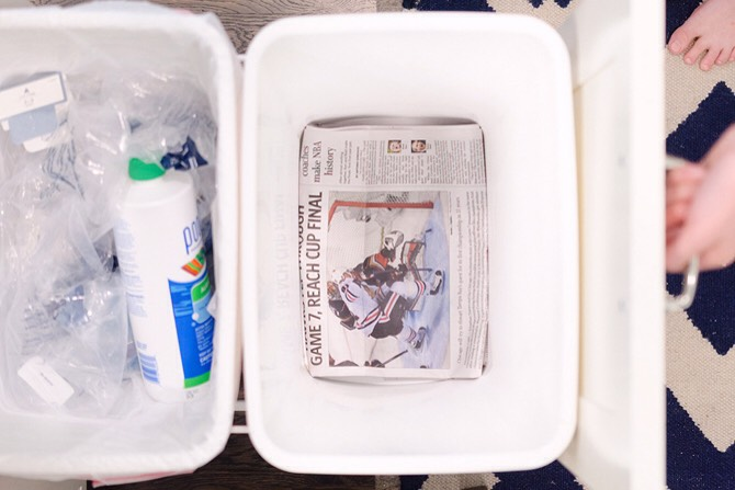 ABSORB SMELLS & CATCH DRIPS IN A TRASH CAN WITH NEWSPAPER.