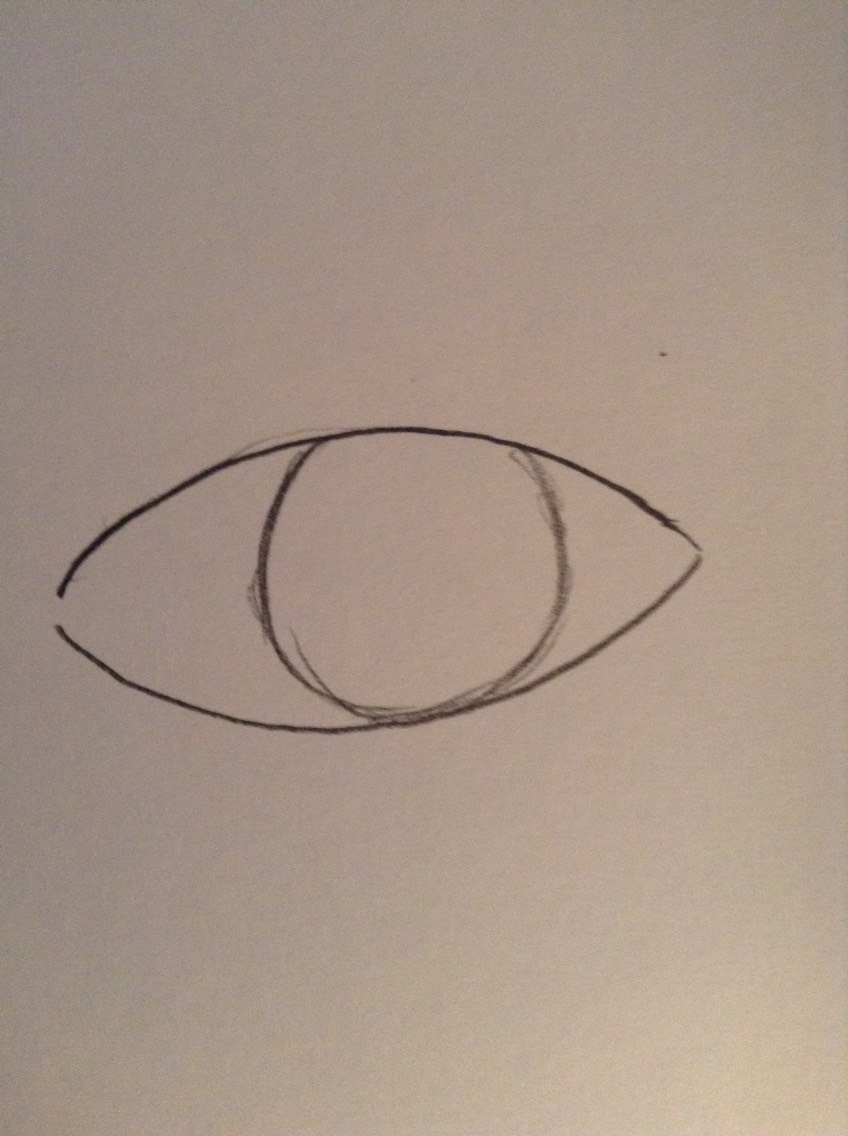 Draw a circle that is the iris so it should just brush the bottom of your eye and part of the top should be covered by the top eyelid.