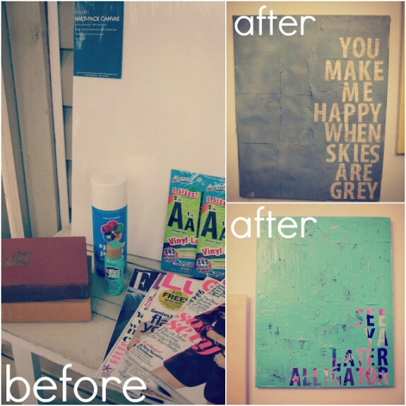 Get a canvas. Paint it any color or colors you want. Choose any quote or words you want and stick the stick-on letters. Then paint over the letters and the original background. Once everything is dry, remove the letters and you will be left with your quote!