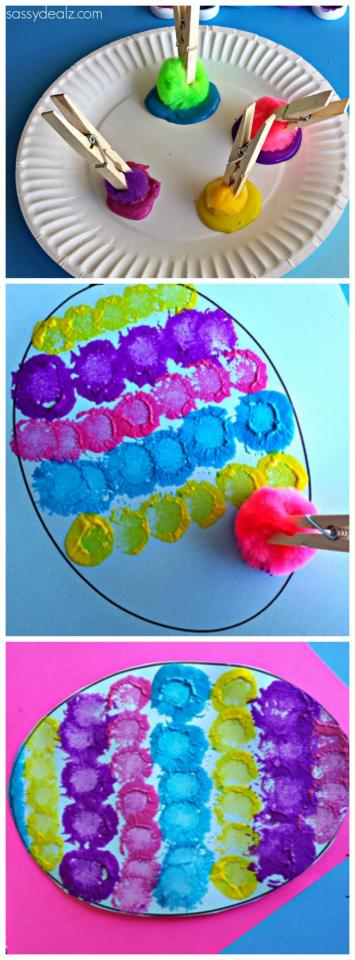 Pom-Pom easter egg craft for kids. Just draw the outline of the egg and have the kids take pom-Poms and dip them in paint then dot them inside the egg