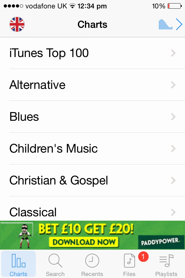 Here you have an option to choose a style of music. You can also change the country to your own so you can get the latest iTunes  top 100!
