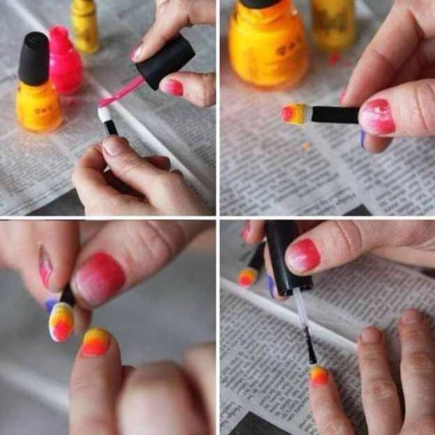 Ombré nail polish with a sponge applicator.